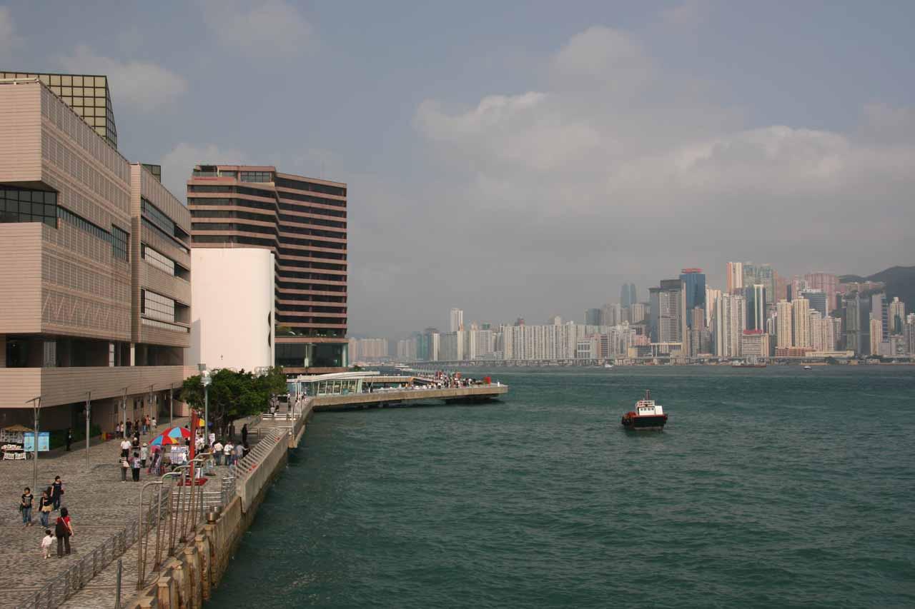 Walking along an interesting waterfront walk at Kowloon