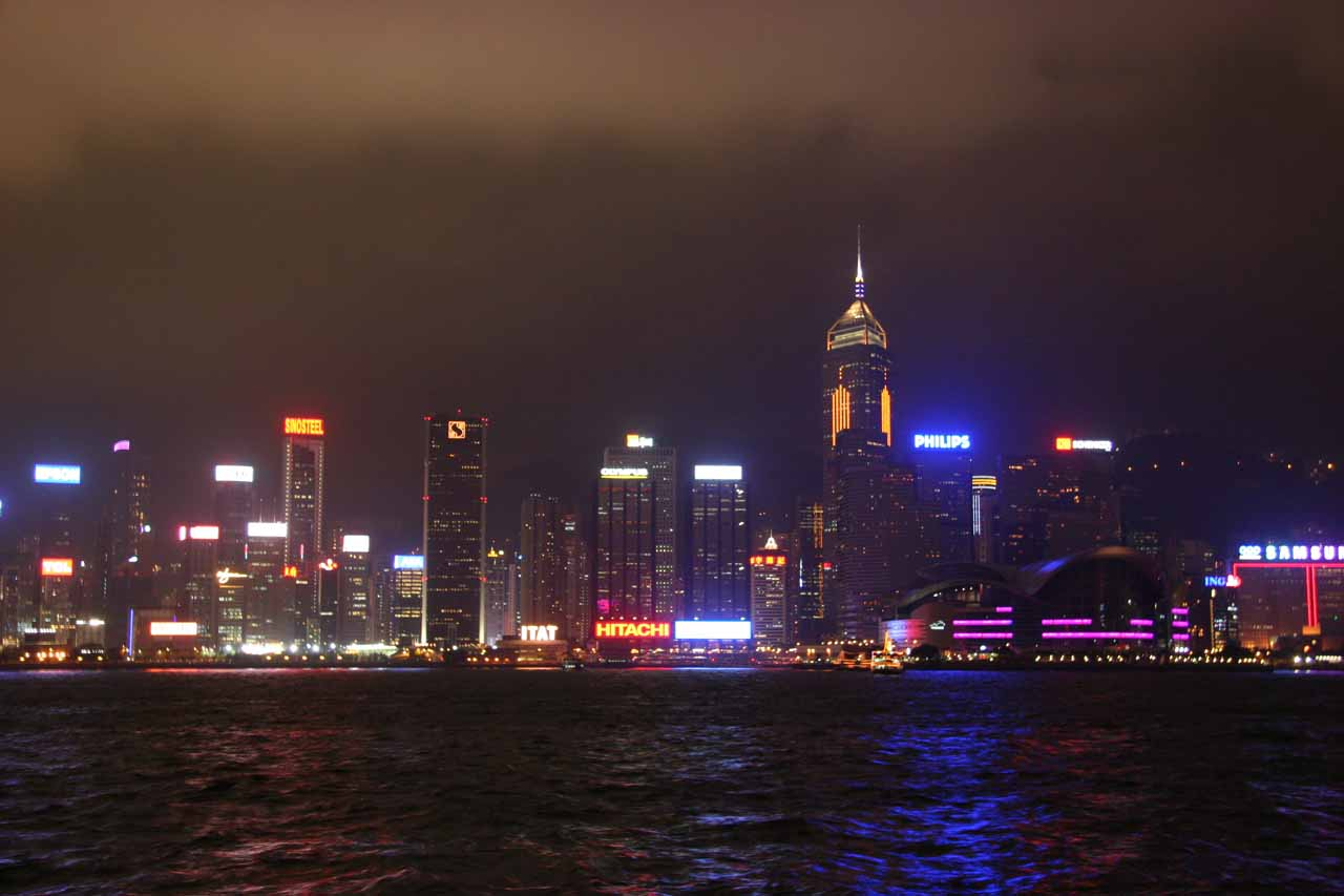 Night time at the Avenue of the Stars looking back towards downtown Hong Kong