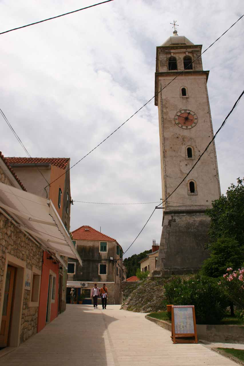 A clock tower within the charming town