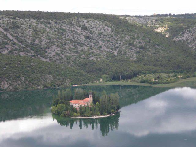 Krka_008_jx_06032010 - As we were driving between Roski Slap and Skradin, we saw this island monastery called Visovac