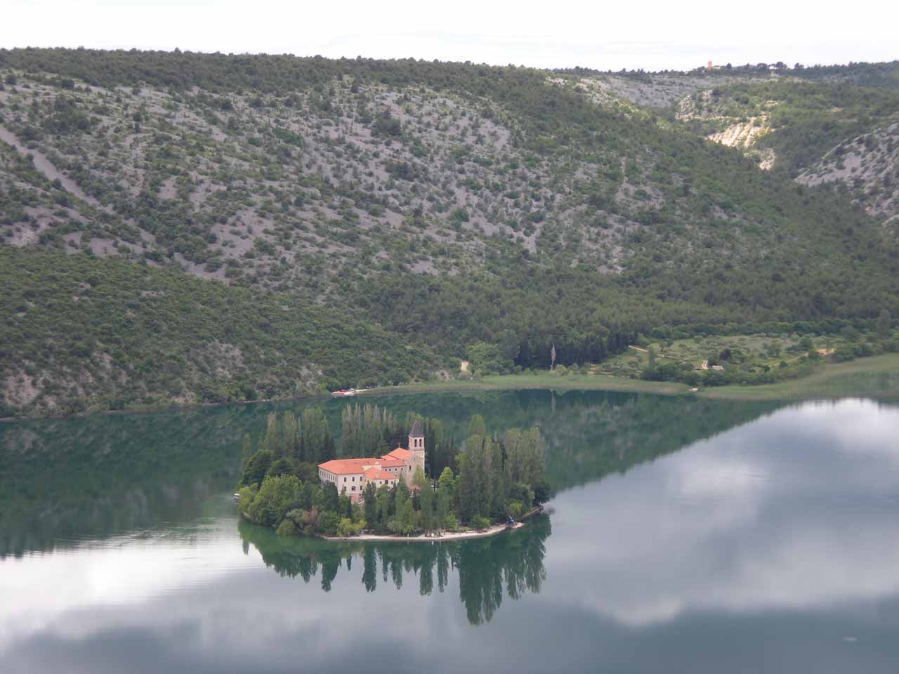 As we were driving between Roski Slap and Skradin, we saw this island monastery called Visovac
