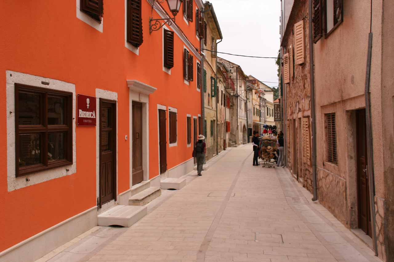 Walking through the town of Skradin to get to the boat dock for Krka National Park