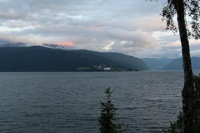 Kvinnefossen_006_07212019 - Looking across the wide Sognefjord from the bottom of Kvinnafossen after the sun had set during my evening visit in July 2019