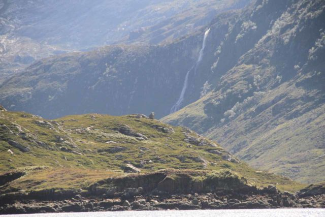Kylesku_250_08252014 - Distant view of the Eas a' Chual Aluinn Waterfall at the end of Loch Beag