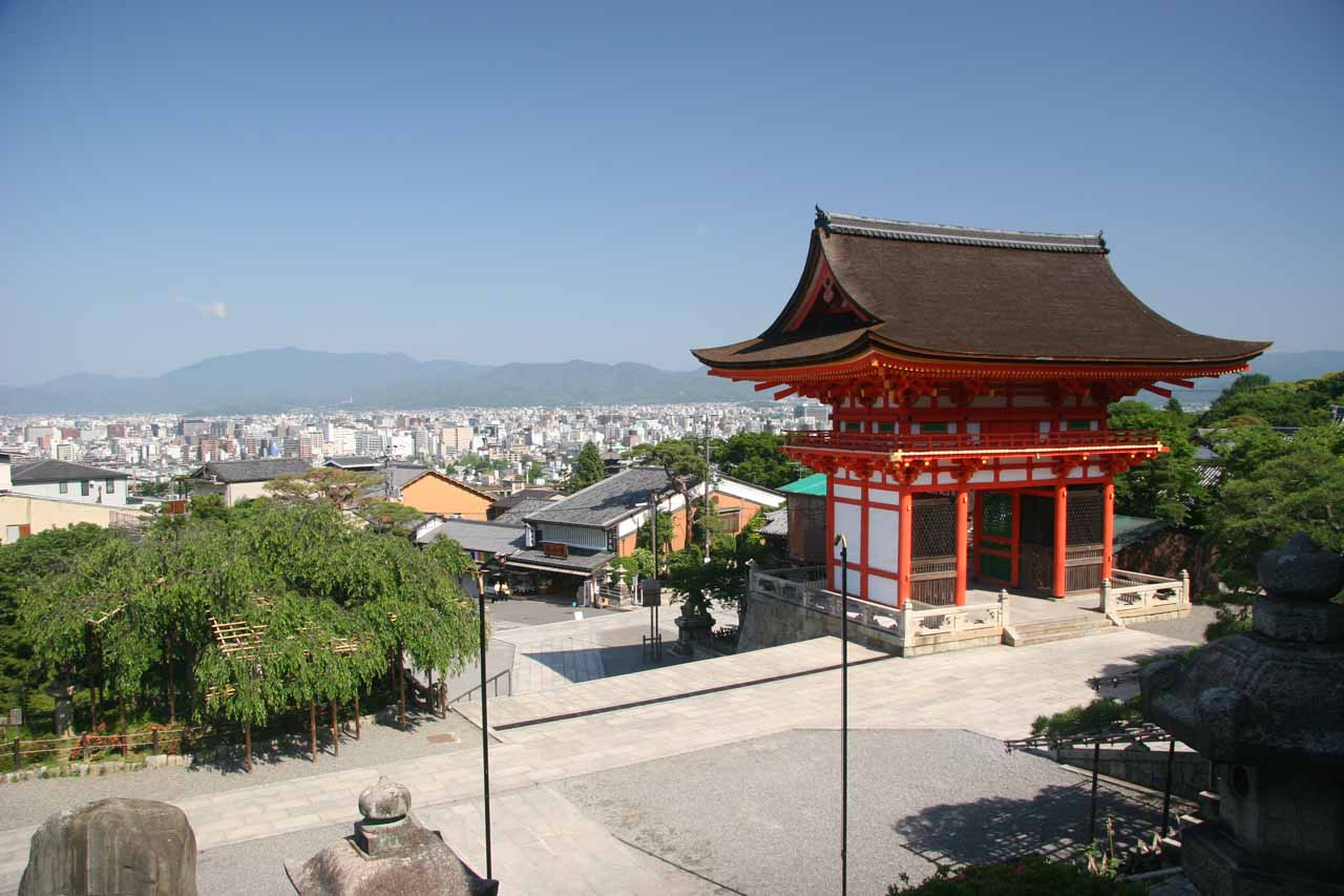 View of Kyoto past a Kiyomizu building