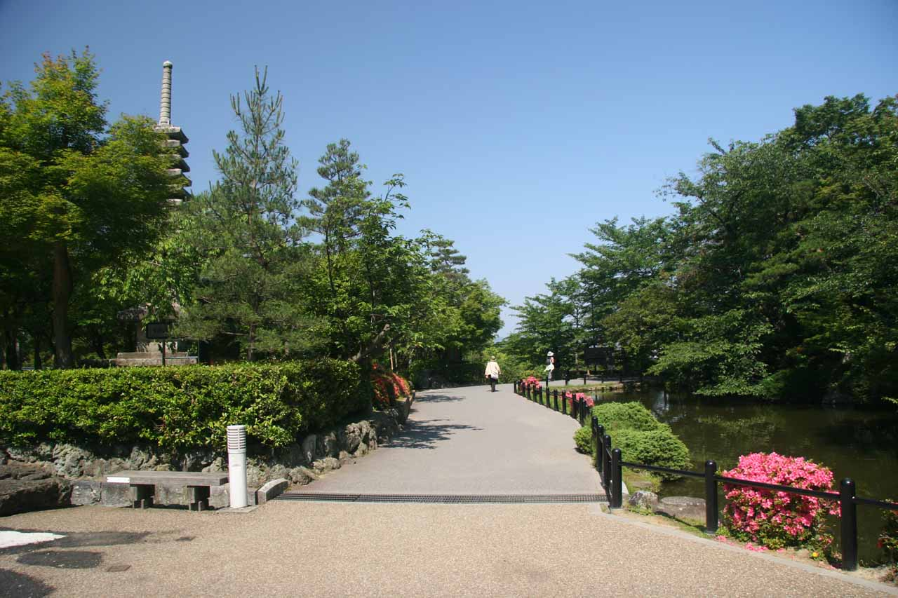 Walking into a park as we were strolling about on the quieter yet charming streets of Kyoto