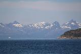 Kystriksveien_049_07082019 - Looking towards snowy mountains while aboard the ferry from Skarberget to Skognes