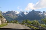 Kystriksveien_227_07082019 - Driving on the Kystriksveien Rv17 with some impressive waterfalls coming down some of the glacier arms of Svartisen