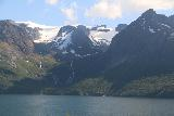 Kystriksveien_233_07082019 - Another look at the waterfalls beneath Svartisen as seen across the Glomsfjorden from the Fv17
