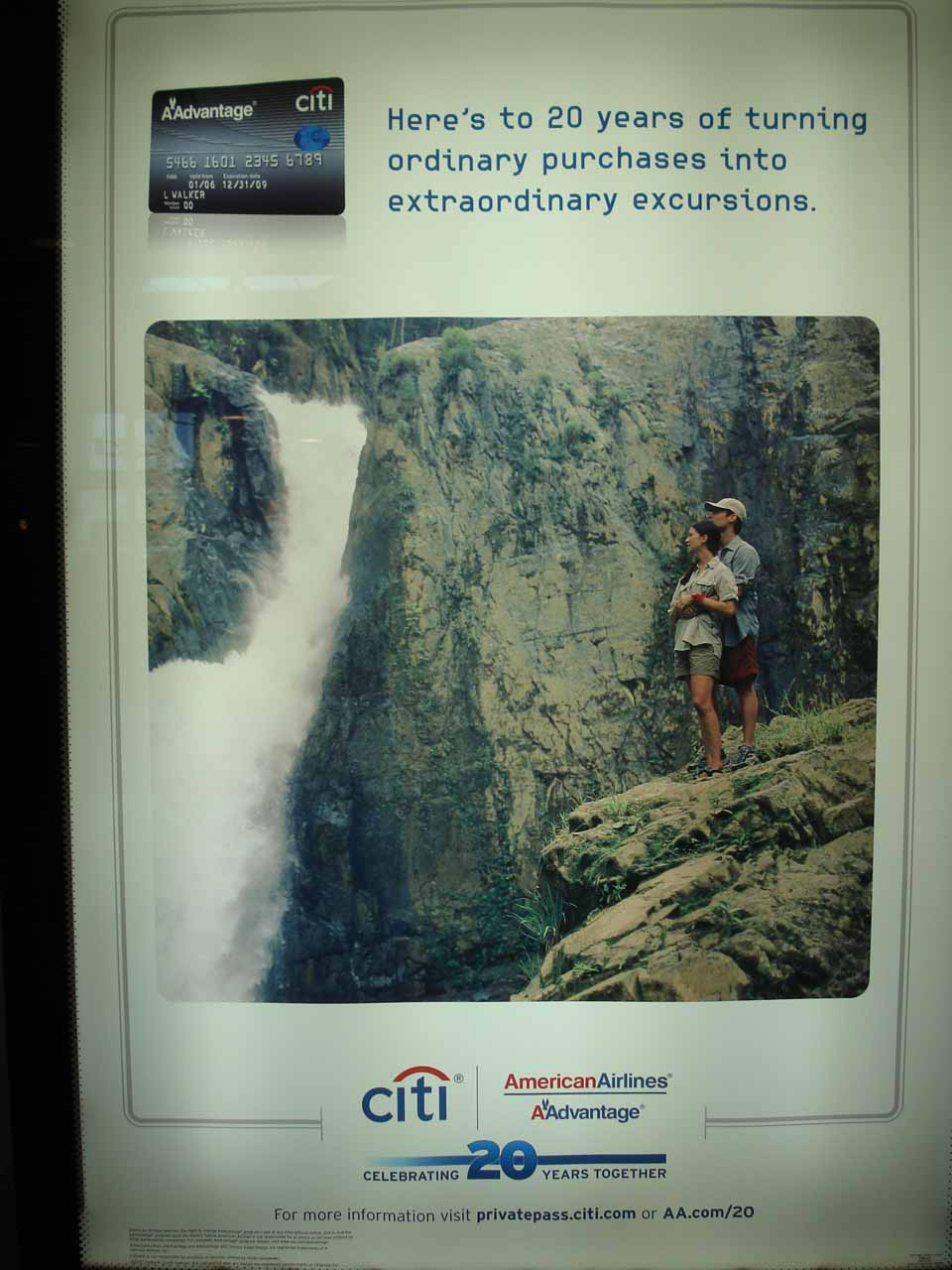 Citibank ad with waterfall