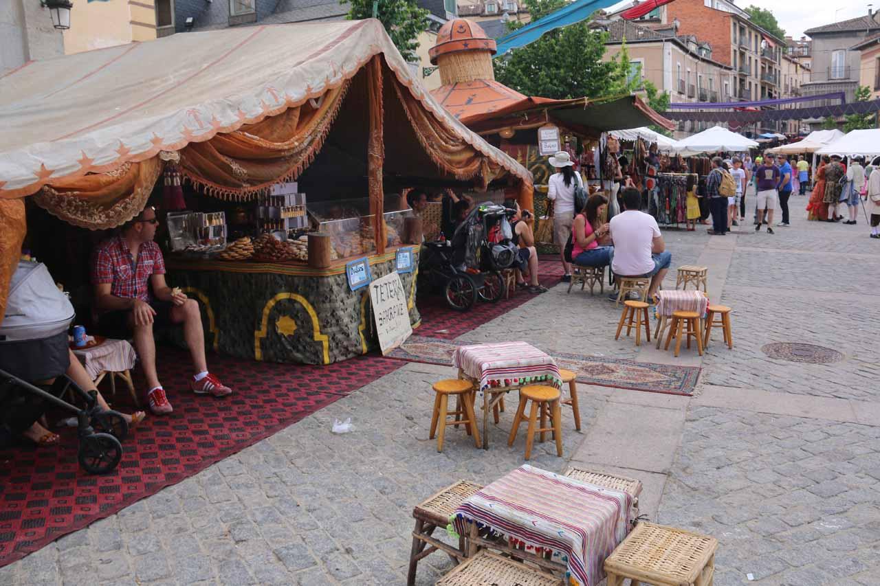 A teteria under a tent at the Plaza de los Dolores during the Mercado Barroco