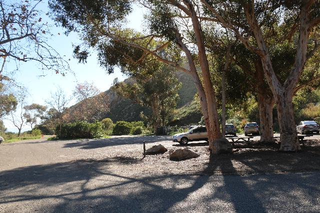 La_Jolla_Canyon_002_01192019 - Looking back at the parking lot for the La Jolla Canyon Falls Trailhead in Pt Mugu State Park