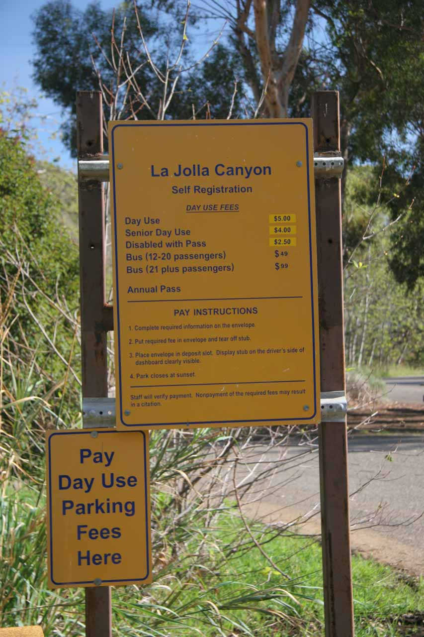 The hefty day use parking fee