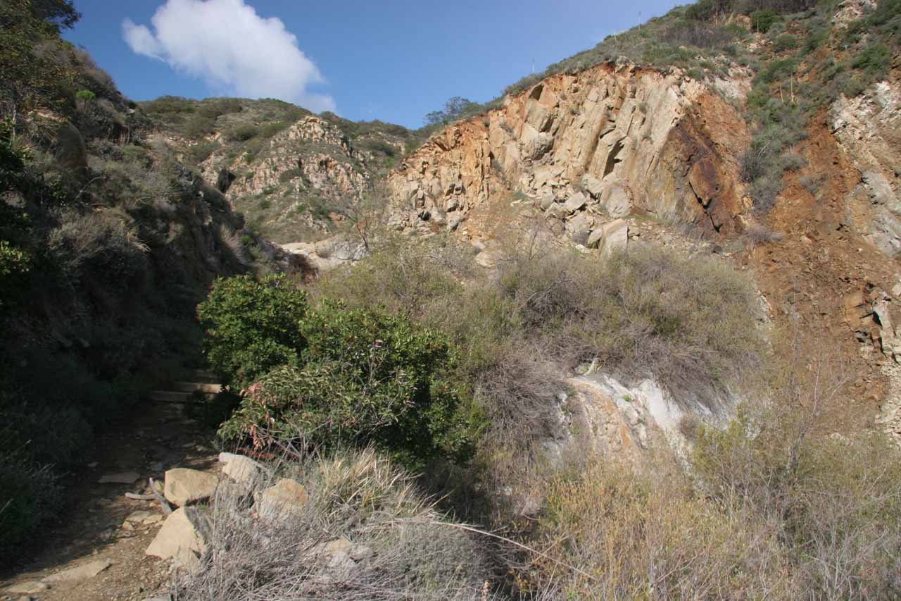 Profile view of the pair of tiers that is supposed to be La Jolla Canyon Falls