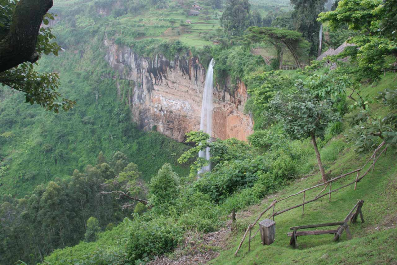 Sipi Falls as seen from a viewpoint in the lodge complex