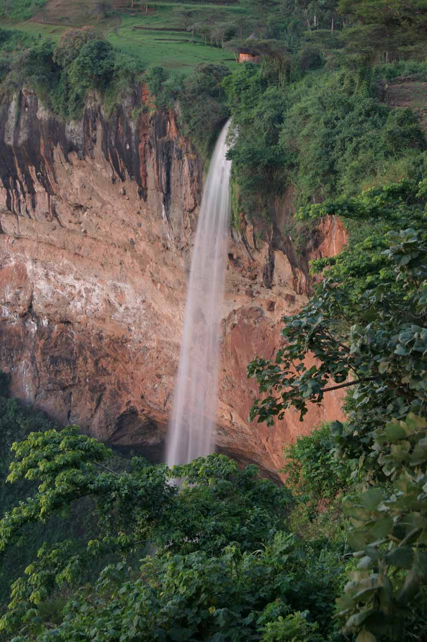 Focused in on Sipi Falls as seen from the Lacam Lodge just as the cliffs were changing colors with the setting sun