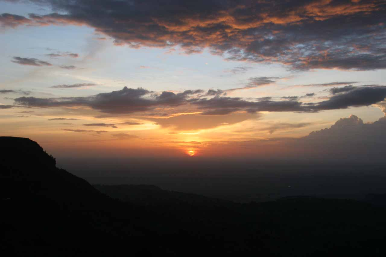 Gorgeous sunset as seen from the slopes of Mt Elgon from the Lacam Lodge