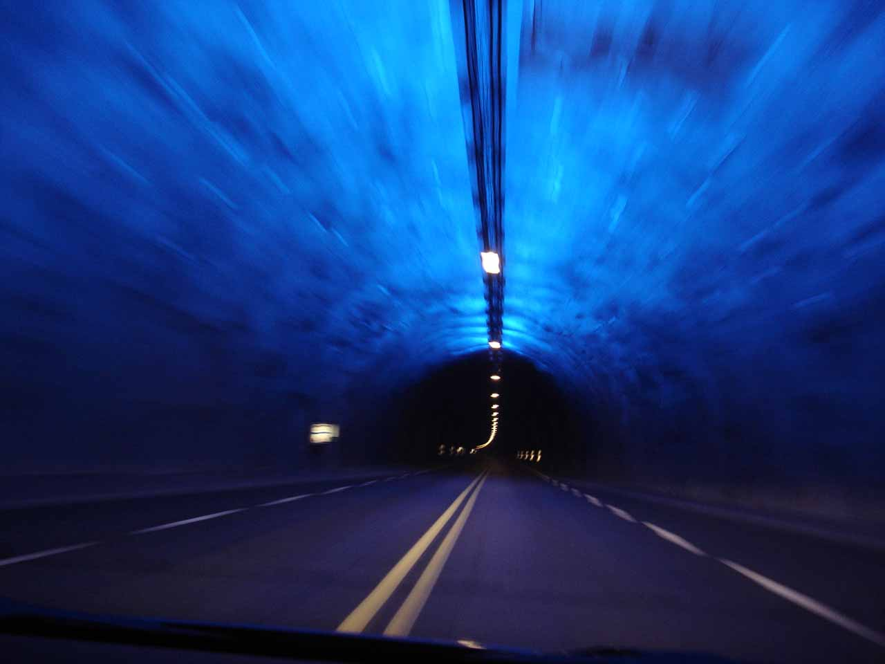 This is a picture inside one of the two blue-lit 'ice' sections of the Lærdal Tunnel, which was one of the longest tunnels in the world at 24km. The 'ice' sections helped to break up road fatigue