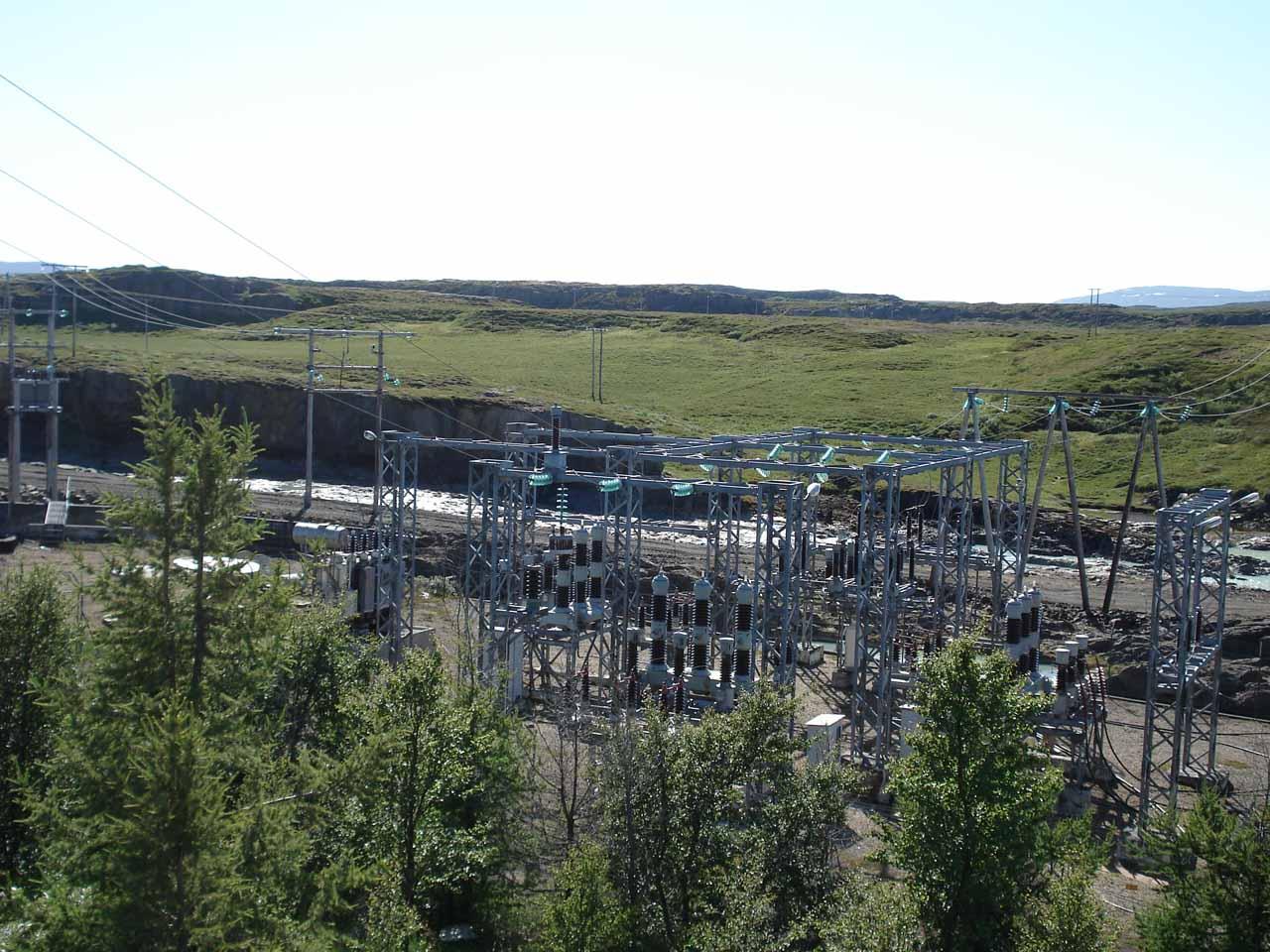 Looking towards the transformers at the Lagarfoss facility