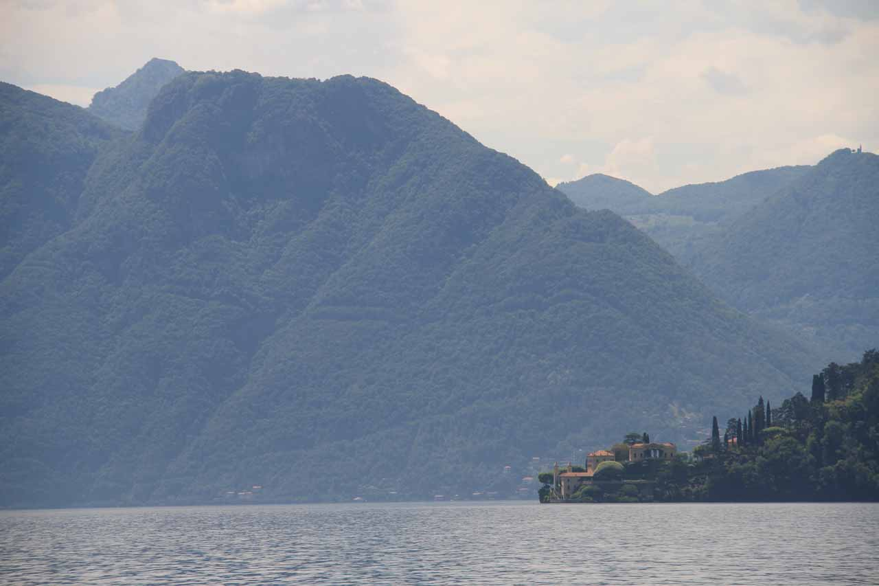 Looking back at Villa Balbianello in the distance as we were headed to Bellagio