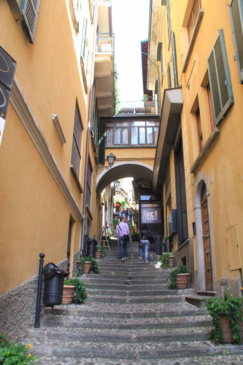 Looking up some charming stair-stepped arcades in Bellagio