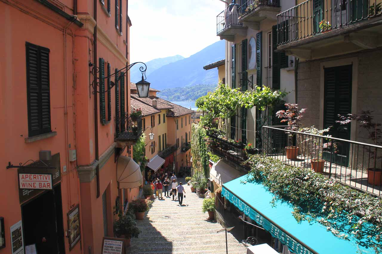 If you are visiting Lago di Como (in Italy, not far from Locarno), it's certainly worth the boat ride across the lake to the charming town of Bellagio and its sloping arcades