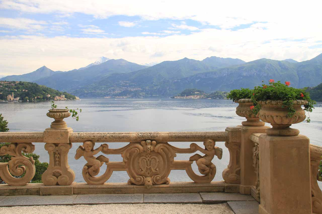 Pretty views from the terrace with the arches as we looked northwards over Lake Como from Villa Balbianello