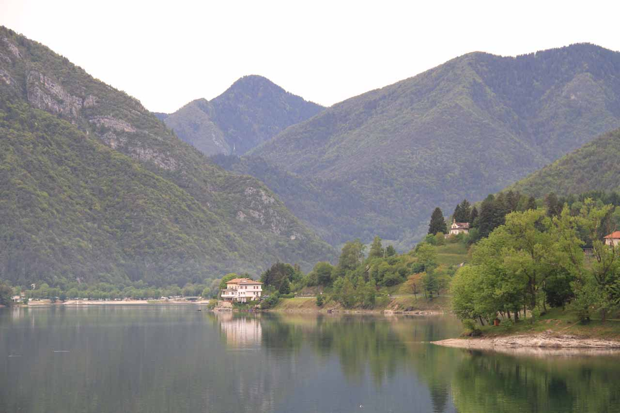 Looking towards the other end of Lago di Ledro with its calm and reflective waters