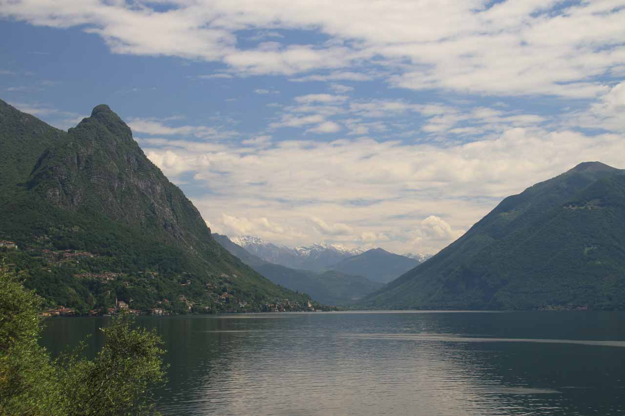 Looking back towards the Italian side of Lake Lugano from the TamOil station at the Italian-Swiss border