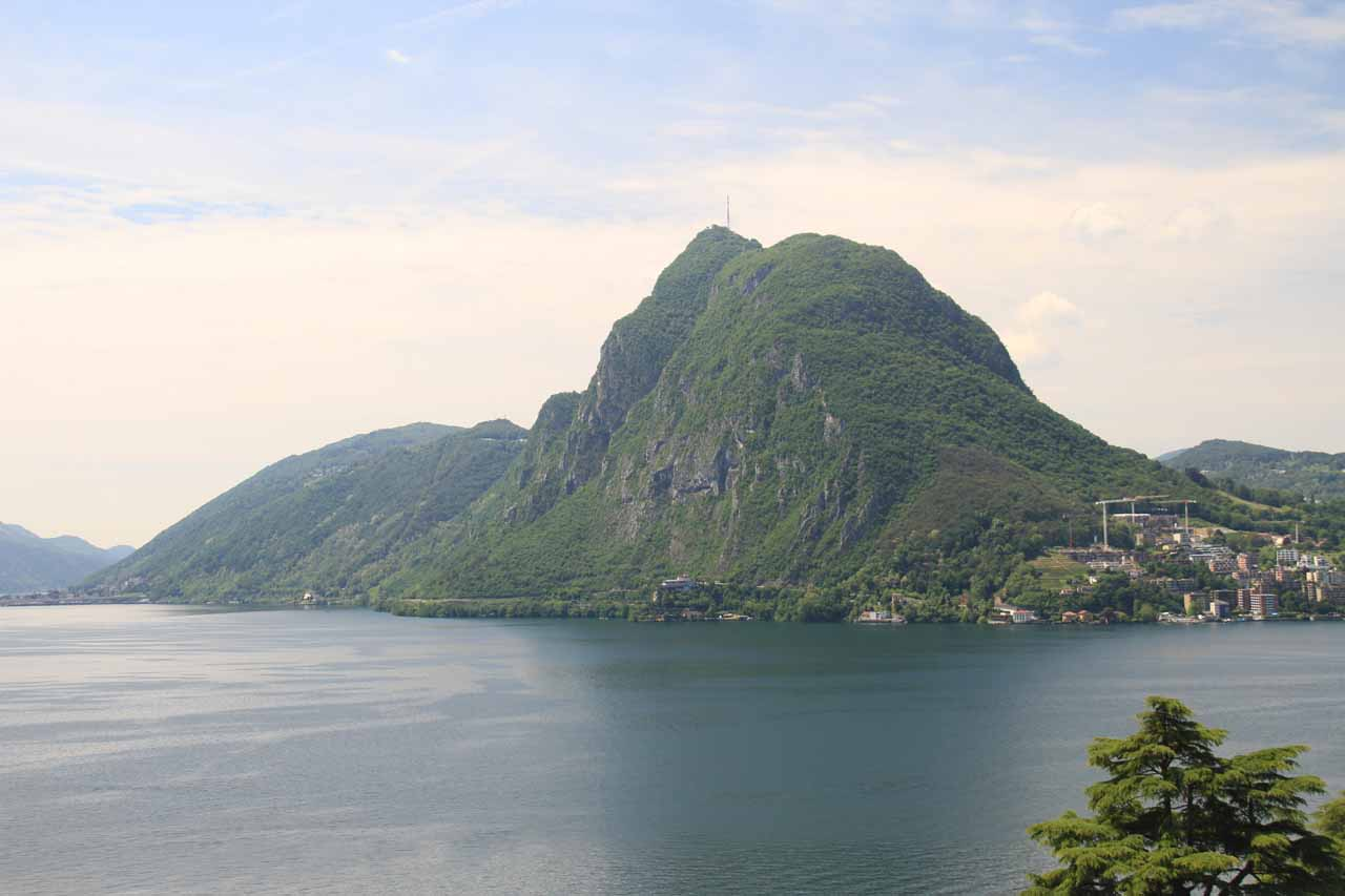 Looking towards an attractive-looking sugarloaf mountain that for some reason reminded us of Rio de Janeiro though we were really in Lake Lugano, Switzerland