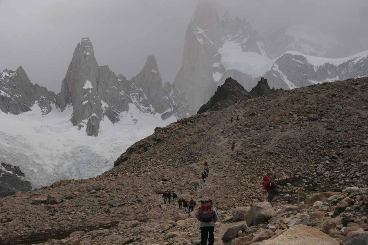 Trekking before Fitz Roy Peaks in Argentinean Patagonia