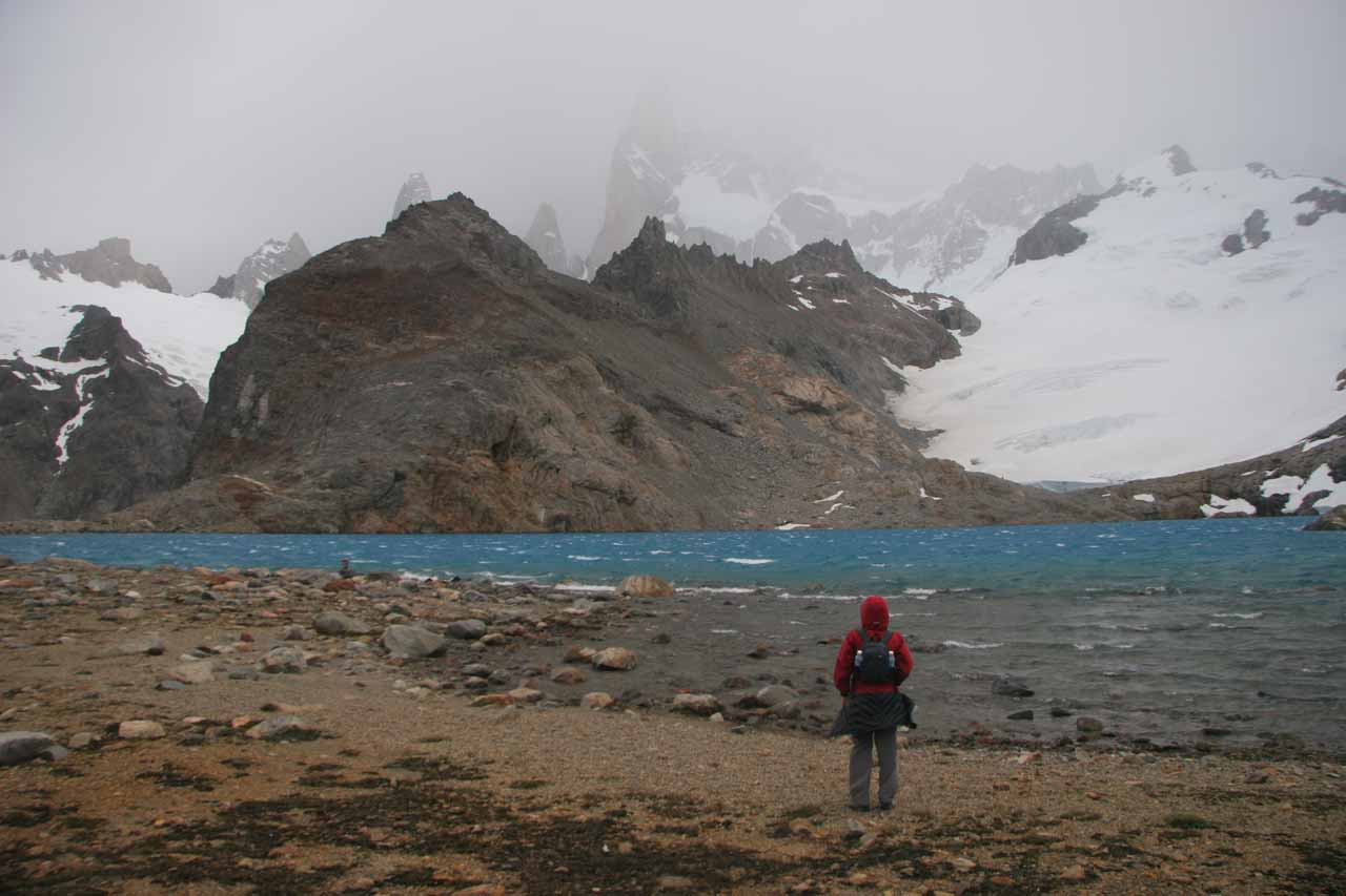 Making the most of our time at Laguna de Los Tres in the inclement weather