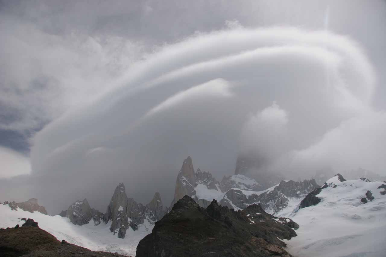 More weird cloud formations over the Laguna de Los Tres in the inclement weather