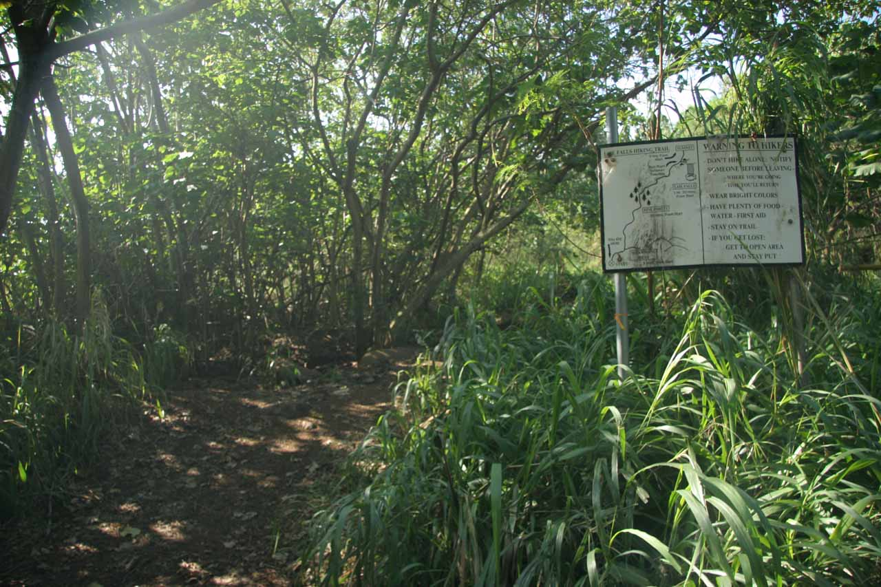 Going past a sign that I think indicated the trail passed through private property