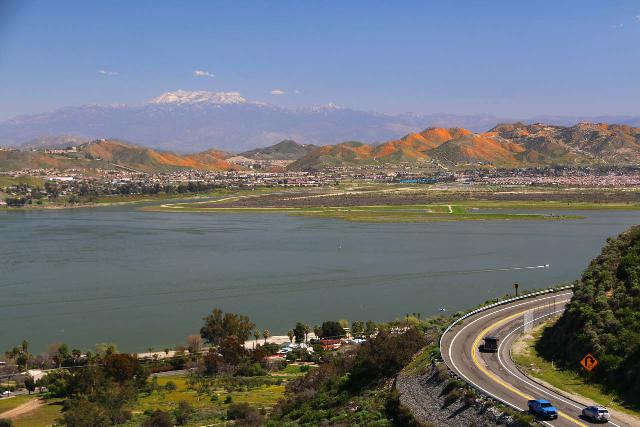 Lake_Elsinore_193_03172019 - Looking across Lake Elsinore with the California Poppies Superbloom in the distance and a snow-capped mountain