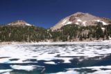 Lake_Helen_006_07122016 - Looking over the partially frozen Lake Helen with Lassen Peak and a neighboring peak next to it in the background