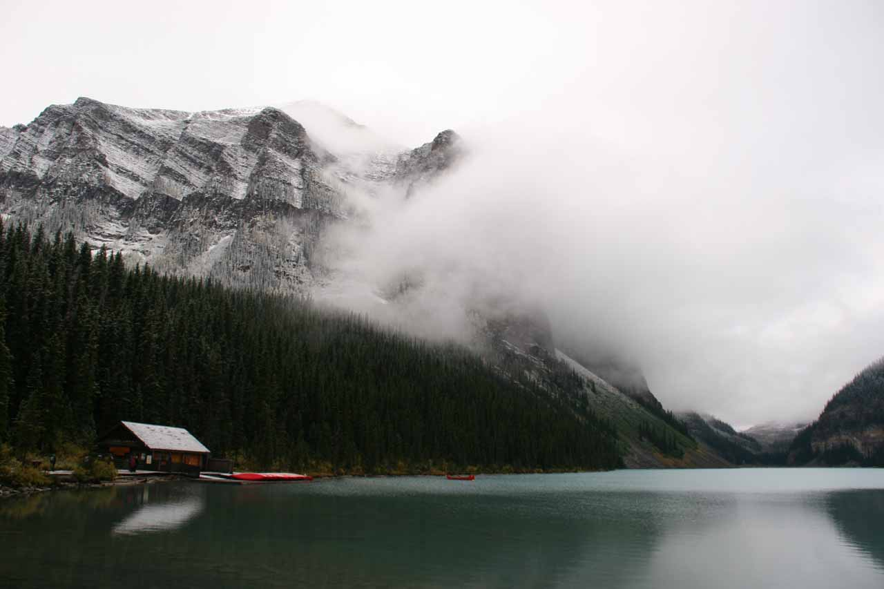 On the way to Natural Bridge is the beautiful and famous Lake Louise.  This photo was taken on a frigid morning (in September 2010) when clouds were still hanging around