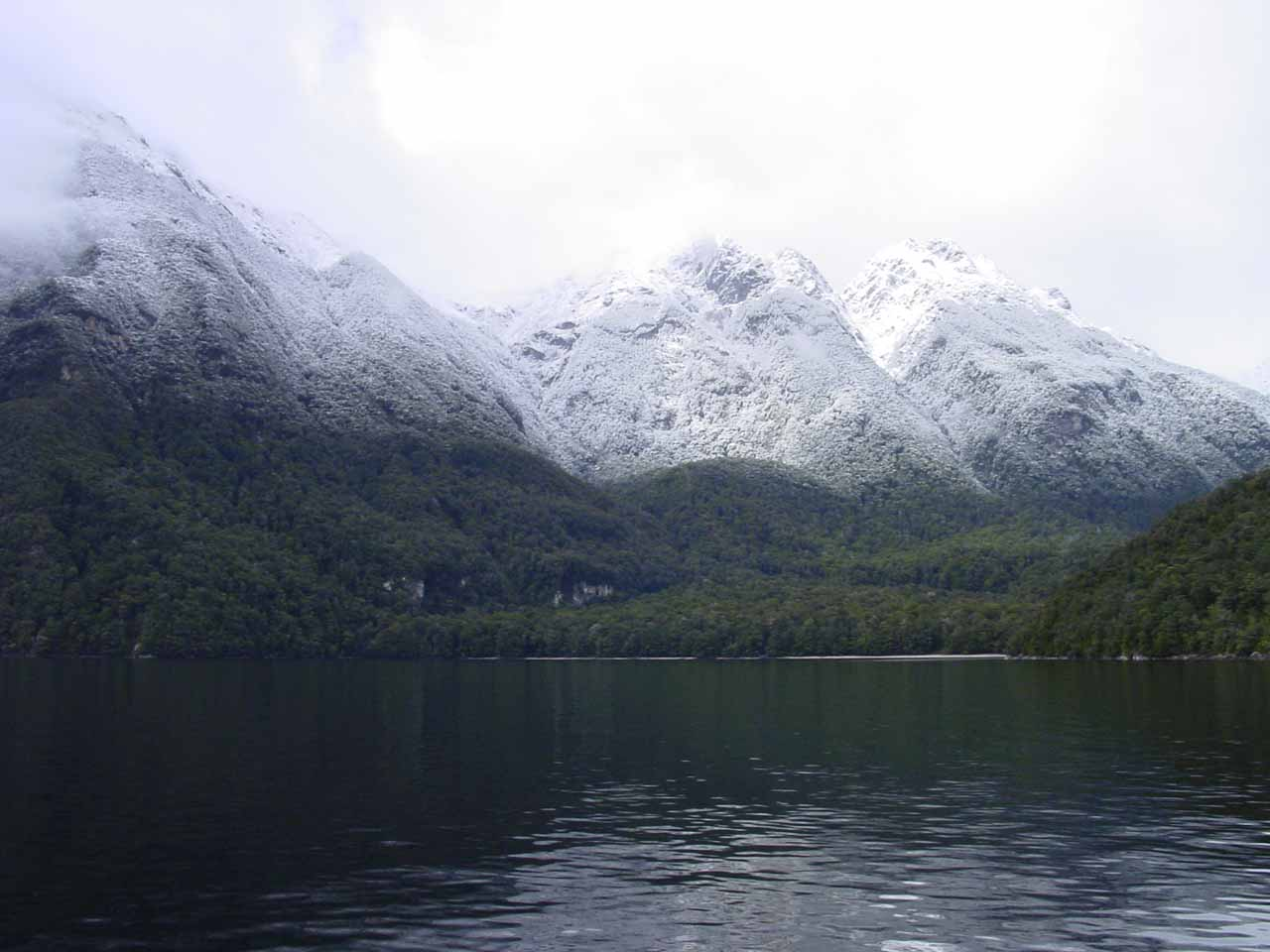 As we were cruising across Lake Manapouri, we could see the temperate rainforest carpeting the neighbouring mountains with a fresh dusting of snow