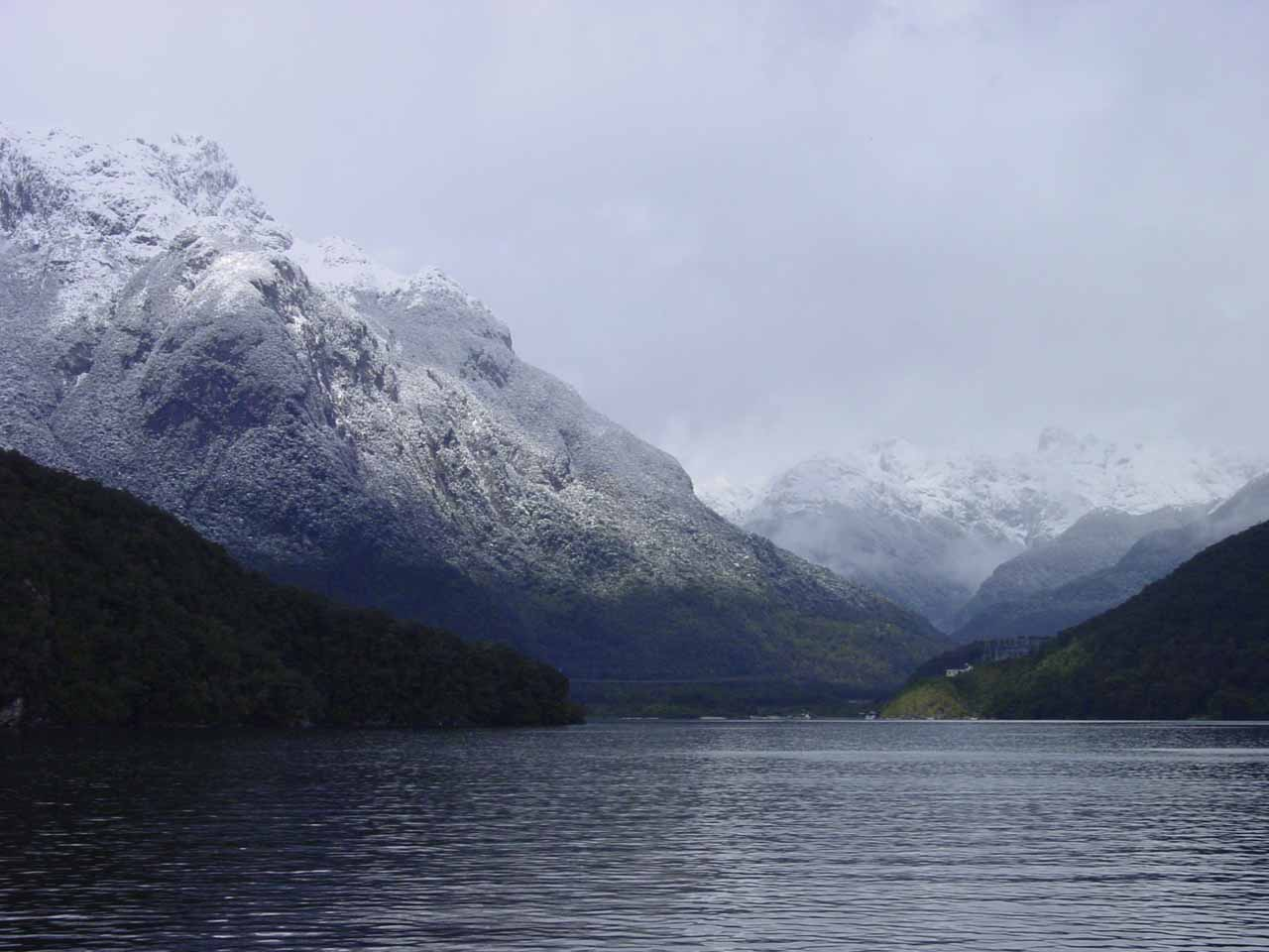 Looking ahead as we approached the West Arm of Lake Manapouri