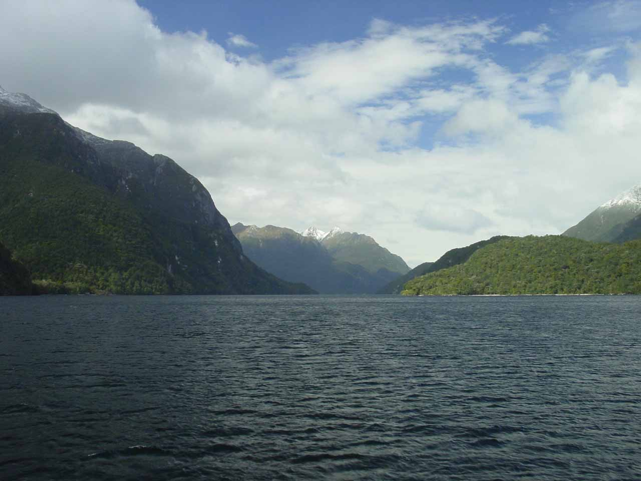 Cruising back across Lake Manapouri as the weather continued to improve