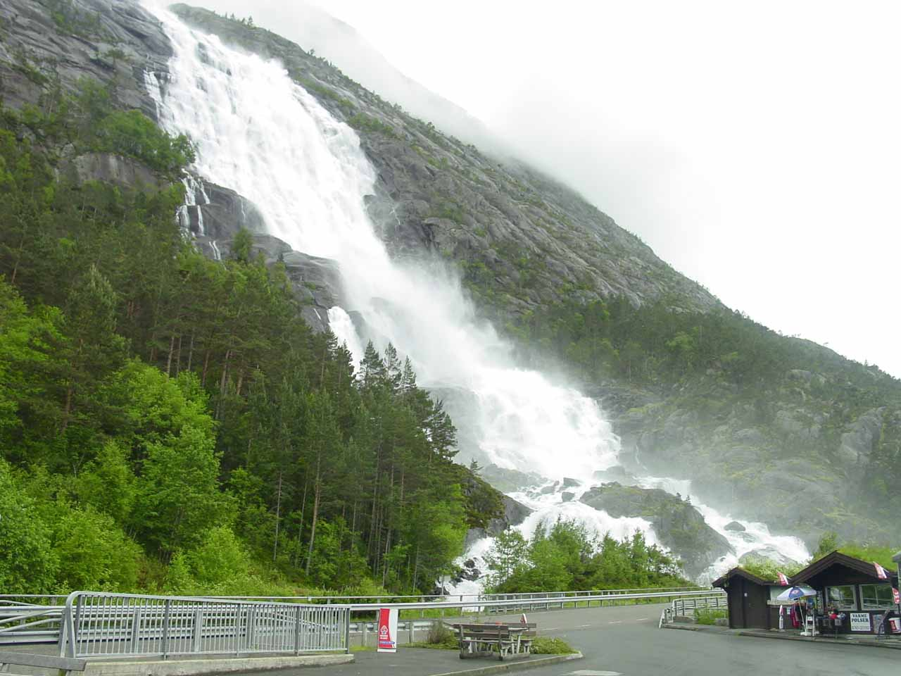 This was our view of the thundering Langfoss from the car park by its base