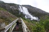 Langfossen_066_06232019 - Tahia going up the steps after checking out the very bottom of Langfossen