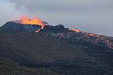 Langihryggur_telephoto_074_08192021 - Broad look at the splattering lava from the Fagradalsfjall Volcano erupting and spewing lava further to the right