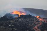 Langihryggur_telephoto_114_08192021 - Focused look at the splattering lava of the Fagradalsfjall Volcano erupting