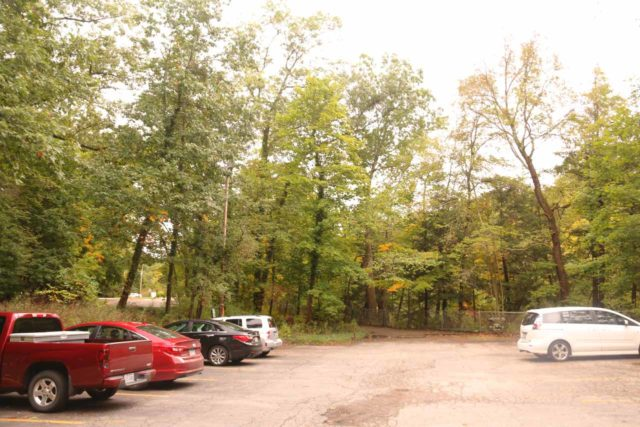 Lanternmans_Falls_002_10042015 - The parking area closest to the Lanterman's Mill, which was on the other side of the Canfield Road Bridge