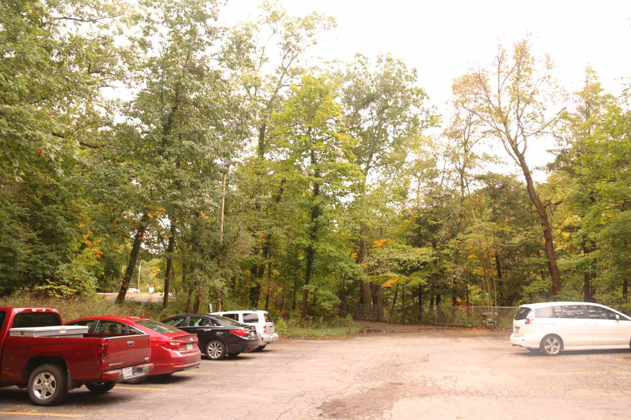 The car park for the Lanternman's Mill and Covered Bridge