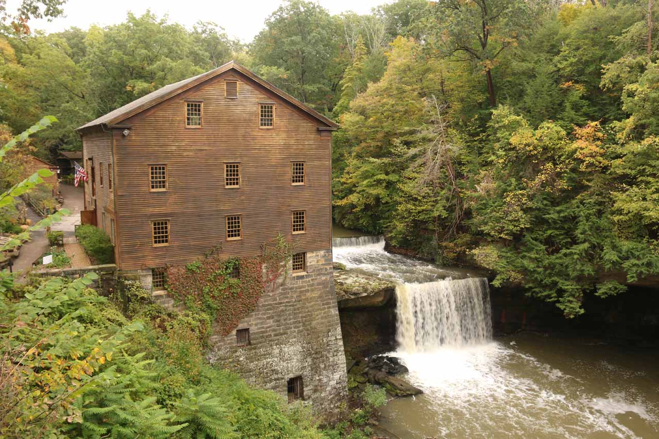 Nice contextual view of the Lanternman's Mill and Falls from beyond the bridge