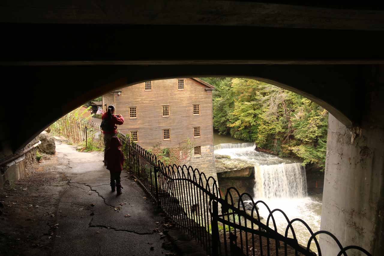 Starting to see Lanternman's Falls and Mill from beneath the road bridge for Canfield Rd