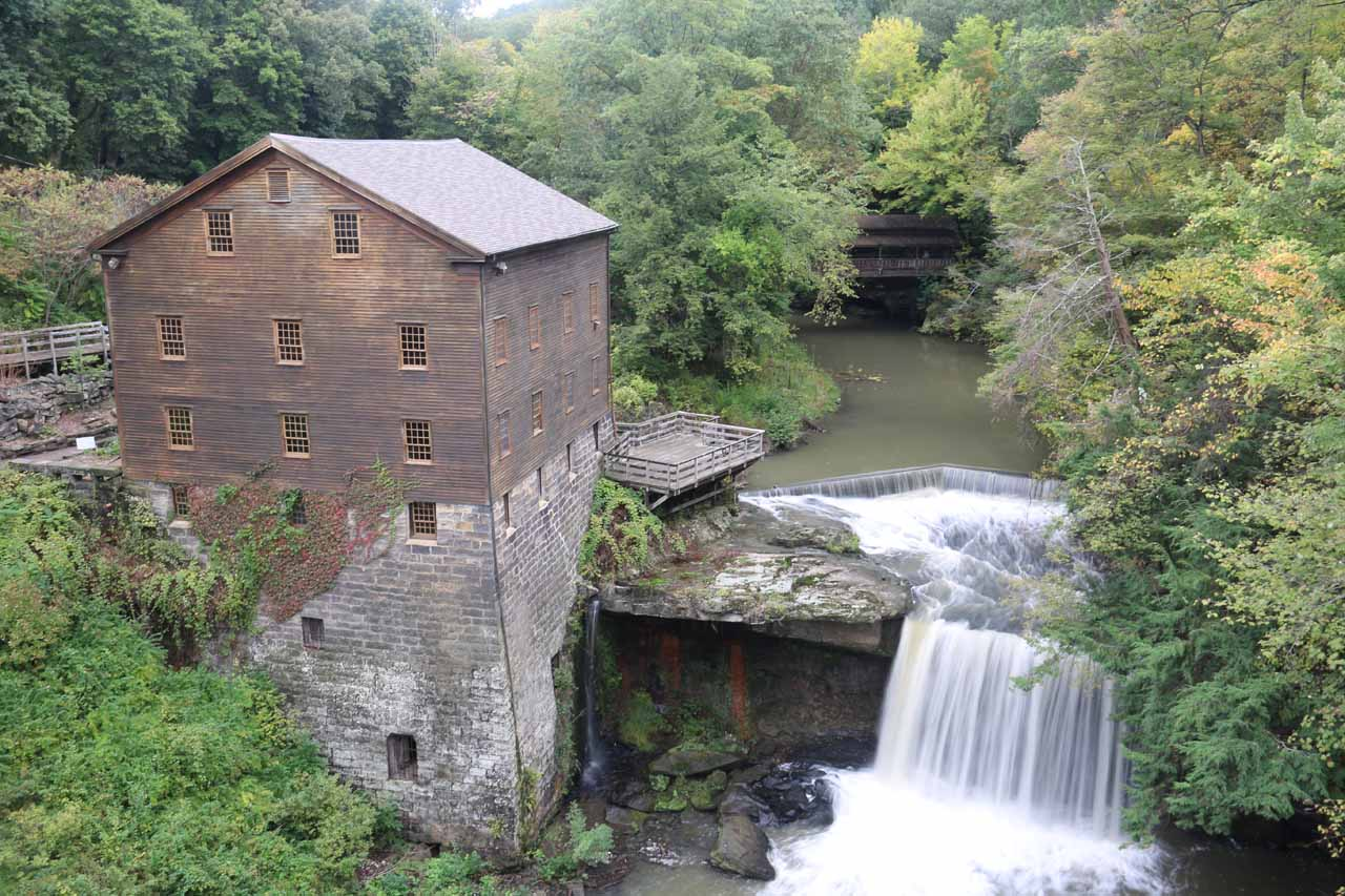 Looking down at the Lanternman's Mill and Falls from the road bridge