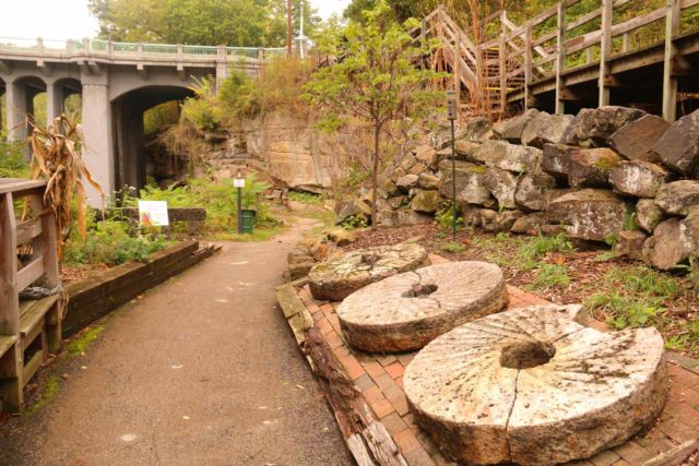 Lanternmans_Falls_125_10042015 - Right in front of the Lanterman's Mill, we noticed these gears or grinding stones on display right
